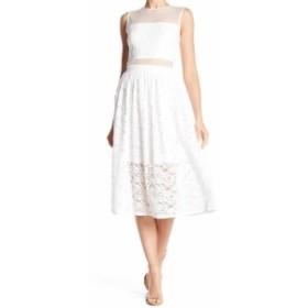 ファッション ドレス Love..Ady NEW White mesh Floral Lace Womens Medium M A-Line Dress