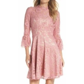 Eliza J エリザジェイ ファッション ドレス Eliza J Womens Pink Size 8P Petite Floral Lae Mock Neck Shift Dress