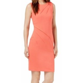 Calvin Klein カルバンクライン ファッション ドレス Calvin Klein Womens Orange Size 4 Pleated Textured Crepe Sheath Dress