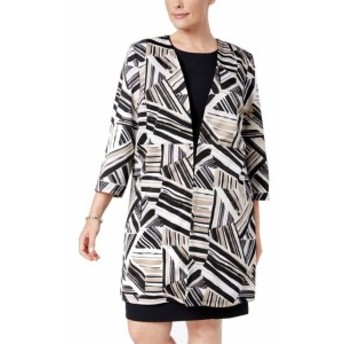 ファッション 衣類 Kasper NEW Beige Womens Size 18W Plus Abstract Hook Topper Jacket