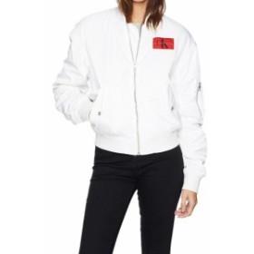 Calvin Klein カルバンクライン ファッション 衣類 Calvin Klein White Womens Size Large L Bomber Logo Print Jacket