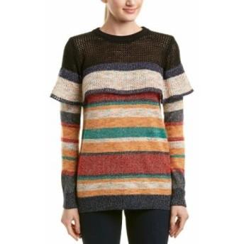 Allison  ファッション トップス Allison Striped Metallic Sweater M Orange