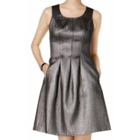 Nine West ナインウエスト ファッション ドレス Nine West NEW Gray Womens Size 8 Novelty Metallic Pocket A-Line Dress