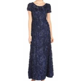 Alex Evenings アレックスイブニングス ファッション ドレス Alex Evenings Blue Womens Size 10P Petite Rosette Ball Gown Dress
