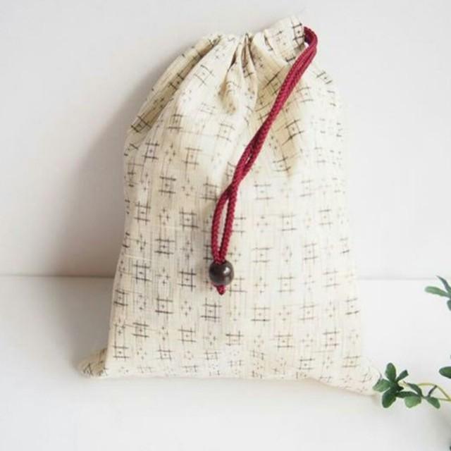 綿麻浴衣地 巾着袋 小物入れ、ご朱印帳入れに最適。