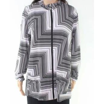 ファッション 衣類 Erin London Womens Black Size Large L Abstract Print Full Zip Jacket