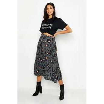 Boohoo レディーススカート Boohoo Tall Leopard Print Pleated Midi Skirt grey