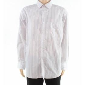 ファッション ドレス Club Room White Mens Dress Shirt Size 18 1/2 Single-Pocket Pinstriped