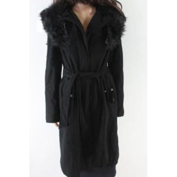ファッション 衣類 Designer Brand NEW Black Womens Size Medium M Faux Fur Hooded Coat Wool
