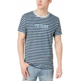 GUESS ゲス ファッション トップス Guess NEW Blue Mens Size 2XL Overdye Logo Knit Striped Tee Shirt