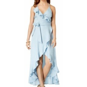GUESS ゲス ファッション ドレス Guess Womens Dress Blue Size Large L Maxi Ruffled Wrap Gown Surplice