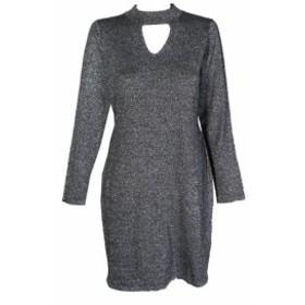 Plata  ファッション ドレス Connected Pequeno Negro Plata Metalico Cuello Mock Agujero Sueter Vestido Recto