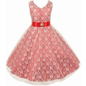 Red  ファッション ドレス SHANTIL NEW Red Little Girl 4 Lace Overlay Satin Brooch Flowers Dress