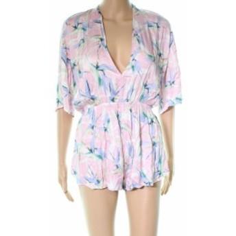 THE BIKINI LAB  ファッション ジャンプスーツ The Bikini Lab NEW Pink Floral Printed Women Small S Cover Up Romper