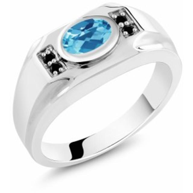 指輪 リング レディース 1.73カラット 天然 スイスブルートパーズ 天然ブラックダイヤモンド シルバー925 大粒 マルチストーン 天然石 11