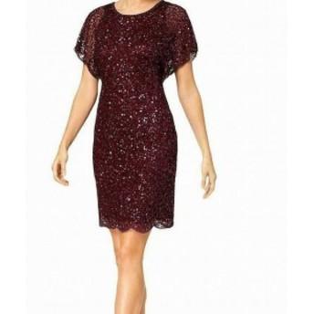 Adrianna Papell アドリアーナ パペル ファッション ドレス Adrianna Papell Women Dress Purple Size 2 Sheath Sequin Flutter Sleeve
