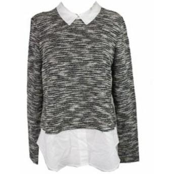 Maison  ファッション トップス Maison Jules Grau-Multi Mixed-Media Pullover XL