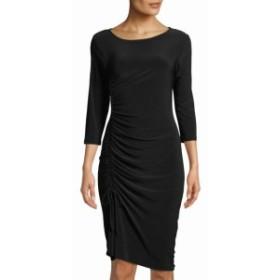 ファッション ドレス Tash + Sophie NEW Black Womens Size 8 Ruched Scoop Neck Sheath Dress