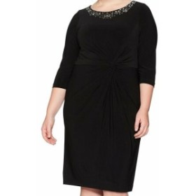 Alex Evenings アレックスイブニングス ファッション ドレス Alex Evenings NEW Black Womens Size 14W Plus Embellished Sheath Dress