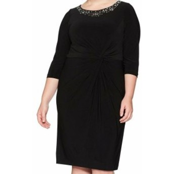 Alex Evenings アレックスイブニングス ファッション ドレス Alex Evenings NEW Black Womens Size 14W Plus Embellished Sheath Dress