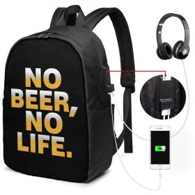 バックパック リュックサック No Beer No Life ビール USB ポート搭載 大容量 盗難防止 多機能 耐衝撃 旅行 通学 通勤 負担軽減 メンズ レディース 登山 軽量 アウトドア 個性的
