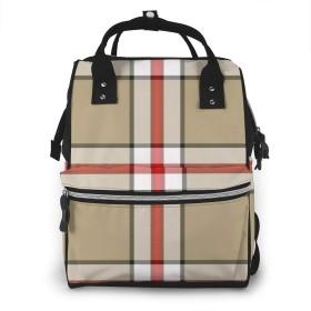 万洋 最新旅行 通勤 個性的 多機能レジャーバッグ リュック マザーズバッグ ベビー用品収納 出産準備 防水盗難防止ポケット シンプル大容量手提げ袋 かわいい -赤い格子縞