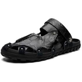 [GERUIQI] 男性用ファッションカジュアルフレキシブルライトウェイトソリッドカラー快適なデュアルユーススリッパサンダル (Color : ブラック, サイズ : 24 CM)