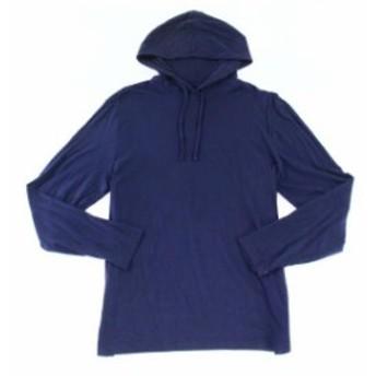 ファッション トップス Club Room Navy Blue Mens Size Medium M 1/2 Zip Jersey Drawstring Hoodie