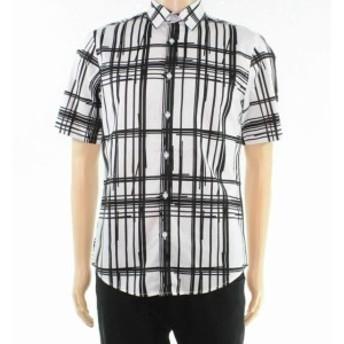Plaid  ファッション アウター INC Mens Shirt Black Size XL Broken Stripe Plaid Print Button Up