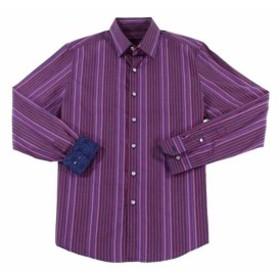 ファッション ドレス Tasso Elba Mens Dress Shirt Purple Size Small S Striped Long-Sleeve