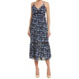 CeCe  ファッション ドレス Cece Womens Blue Size 8 Floral Print Ladder Pleated Stitch Maxi Dress