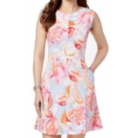 Vince ヴィンス ファッション ドレス Vince Camuto Womens Dress Pink Blue Size 10 A-Line Pocket Printed