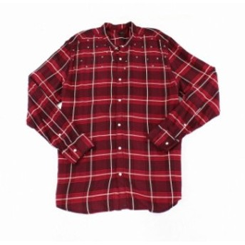 star スター ファッション アウター INC Mens Shirts Red Size 3XL Snap Button-Front Star Studded Windowpane