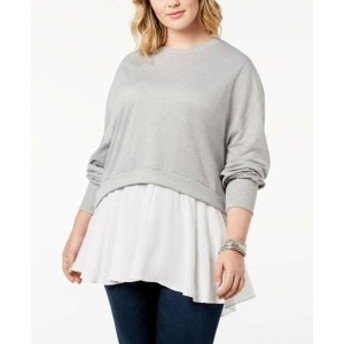 ファッション トップス Say What- NEW Gray White Womens Size 2X Plus Chiffon-Layered Sweater