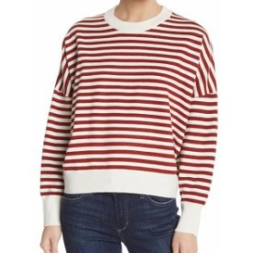 Red  ファッション トップス Elodie Womens Red Size XS Striped Dolman Sleeve Crewneck Sweater
