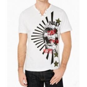 Split スプリット ファッション トップス INC NEW White Mens Size Medium M Skull Graphic Split Neck Tee T-Shirt