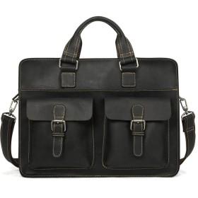メンズバッグ レザーバッグメンズラップトップバッグビンテージラップトップレザーバッグに男性用14インチを製造します レザーバッグ (Color : Black, Size : 14 inches)