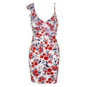 GUESS ゲス ファッション ドレス Guess Red White Sleeveless Chiffon Ruffle Floral Print Bodycon Dress 0