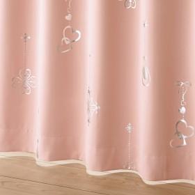 [nissen(ニッセン)] 遮光カーテン 箔プリント ビーズタッセル付 ピンク 幅100 × 長さ178cm × 2枚