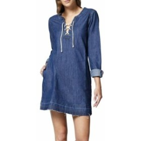 Sanctuary サンクチュアリ ファッション ドレス Sanctuary NEW Blue Womens Size XS Lace Up Denim V-Neck Shift Dress