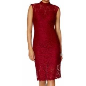 Betsy & Adam ベッツィアンドアダム ファッション ドレス Betsy & Adam NEW Red Womens Size 8 Floral Lace Scallop Sheath Dress