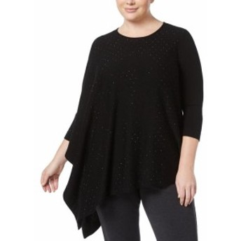 Anne Klein アンクライン ファッション トップス Anne Klein NEW Black Womens Size 3X Plus Asymmetric Embellish Sweater