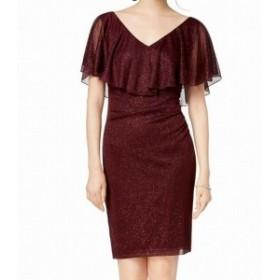 Red  ファッション ドレス Connected Apparel Women Sheath Dress Red Size 8P Petite Metallic Stretch