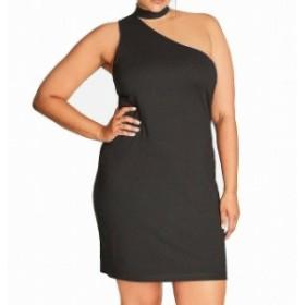 City Chic シティシック ファッション ドレス City Chic NEW Black Womens Size 22W Plus Choker-Neck Sheath Dress