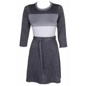 Calvin Klein カルバンクライン ファッション ドレス Calvin Klein Charcoal Metallic Colorblock Belted A-Line Sweater Dress PM