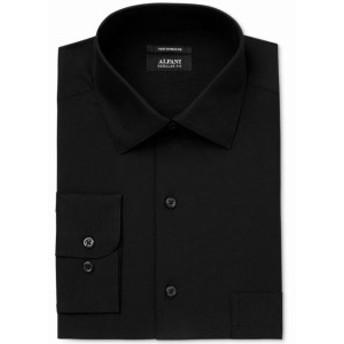 Alfani  ファッション ドレス Alfani NEW Deep Black Mens Size 15 1/2 Regular Fit Solid Dress Shirt