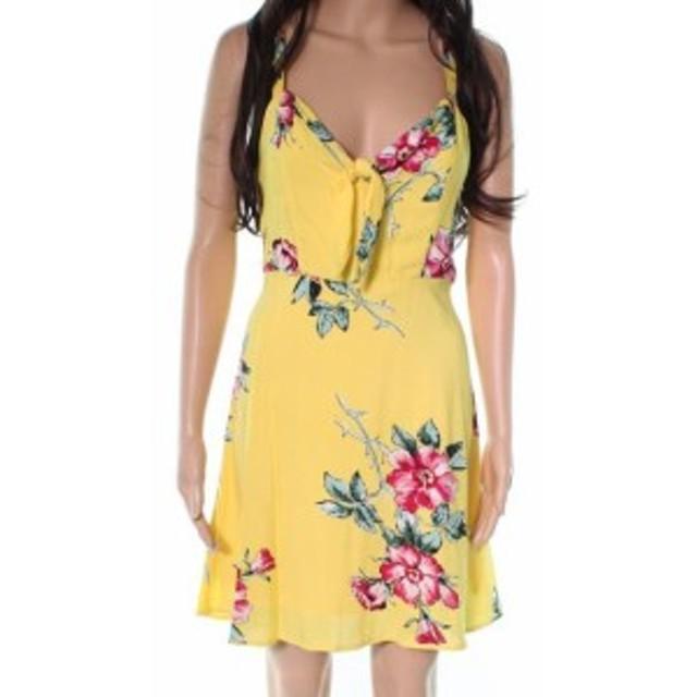 ファッション ドレス Socialite NEW Yellow Floral Print Women Medium M A-Line Smocked Dress