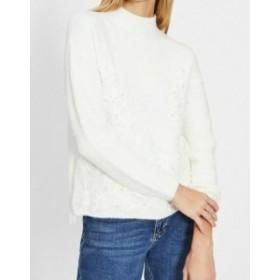 ファッション トップス Miss Selfridge NEW White Womens Size 8 Embellished Bead Mock Sweater