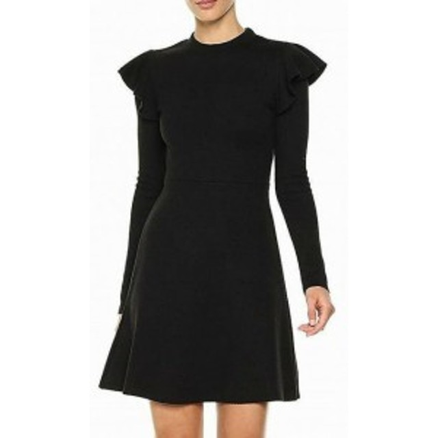 Ruffle  ファッション ドレス J.O.A NEW Black Ruffle Knit Womens Size Small S A-Line Sweater Dress