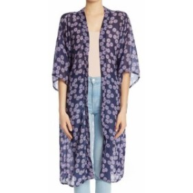 Union ユニオン ファッション トップス 14th & Union Womens Blue One Size Floral-Printed Sheer Kimono Sweater 191